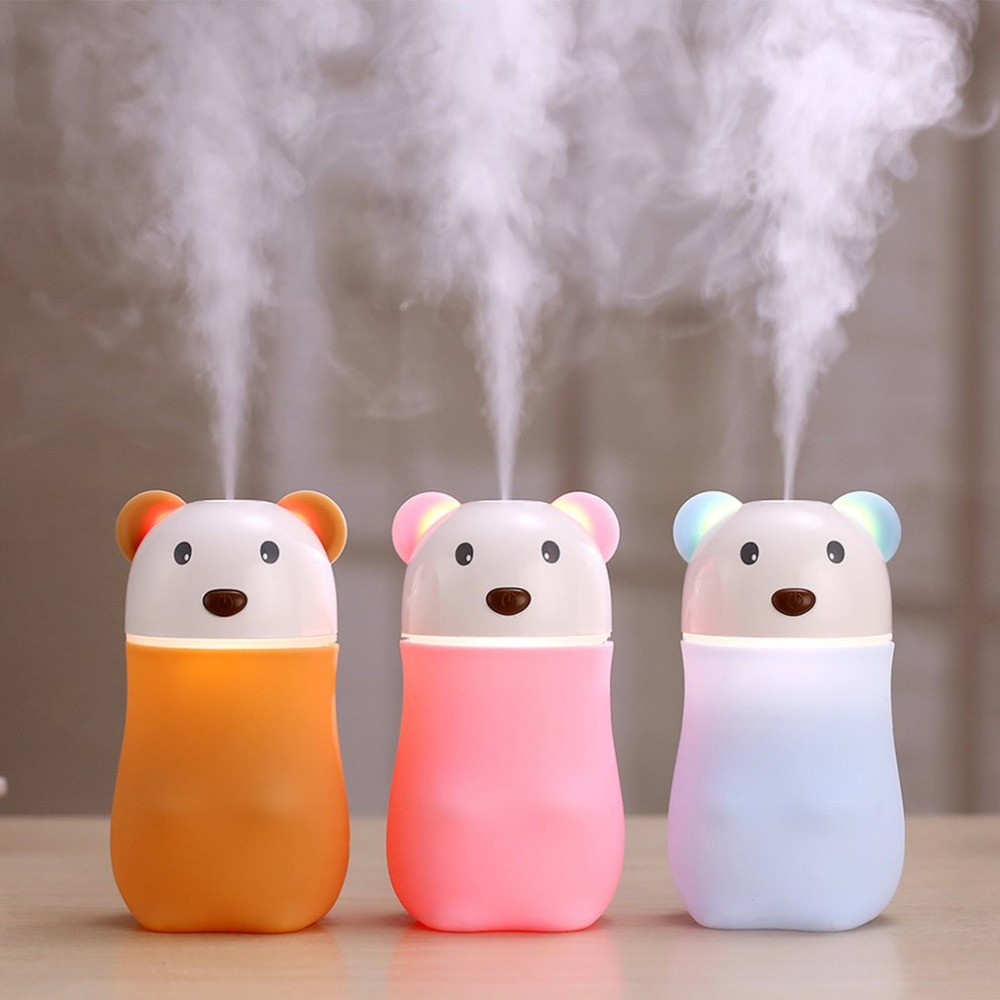 180ML Bear Air Humidifier Mini Air Purifier ABS Aroma Diffuser USB Charging Mist Maker Essential Oil Diffuser For Car Home 5V usb mini cartoon cat humidifier with night lamp car vehicle animal silent air purifier aroma diffuser mist maker essential oils