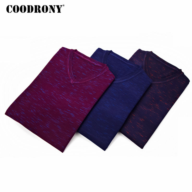 COODRONY Sweater Men Jersey Shirt Pullover V-Neck Homme Autumn Casual Cotton Thin 8123