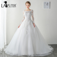 Elegant 2017 Sequined Lace Appliques Scoop Neck Long Sleeves Buttons Back Court Train Ball Gown Wedding Dresses 2017