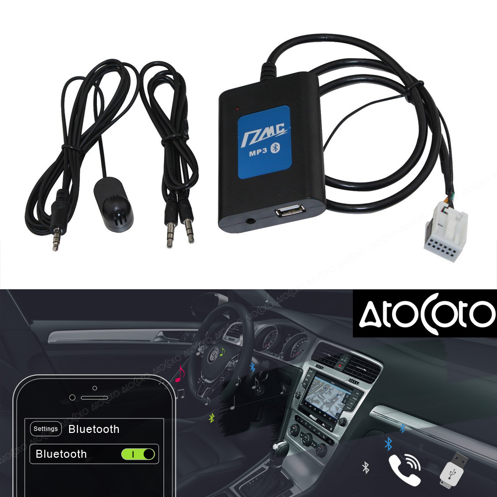 AtoCoto DMC BlueTooth A2DP USB Drive AUX Car Adapter Interface for VW with Microphone 12Pin Radio