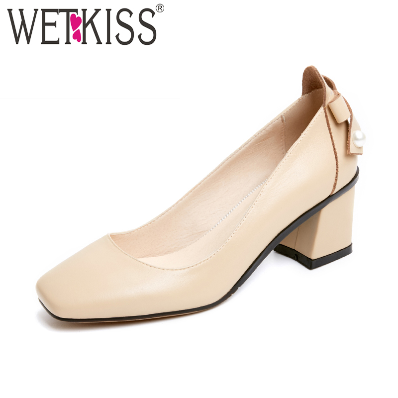 WETKISS Genuine Leather Ladies Pumps High Heels Spring Handmade Pearl Shoes Women New Butterfly Knot Square Toe Slip On Footwear