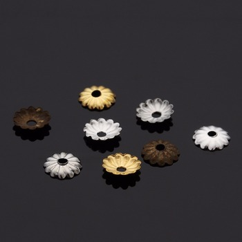 1000pcs/lot Size 5mm Hollow Flower Pattern Charm Bead Caps Gold/Rhodium/Silver Color End for DIY Jewelry Making Findings