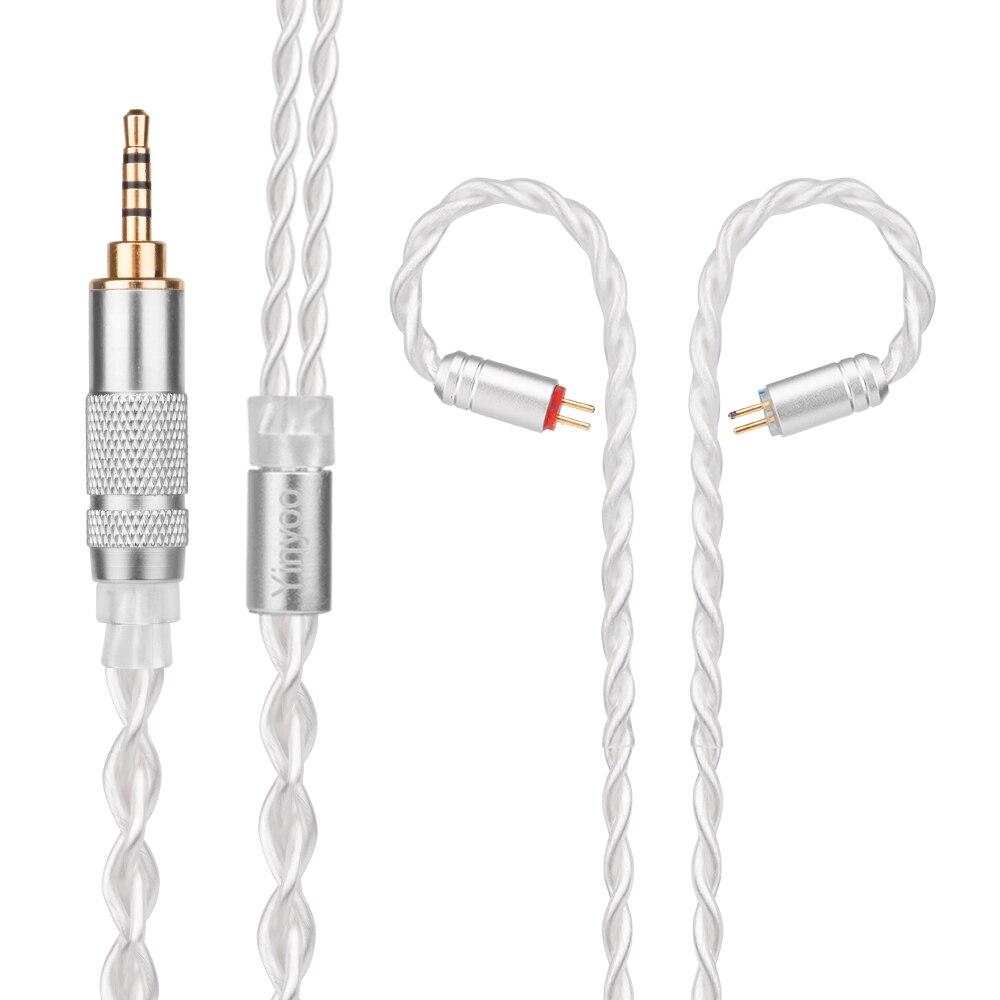 Yinyoo 7N Pur Argent Câble 2.5/3.5/4.4mm Câble Équilibré Avec MMCX/2pin Connecteur Pour LZ a4 A5 Sony KZ ZS10 AS10 BA10 ZST ED16