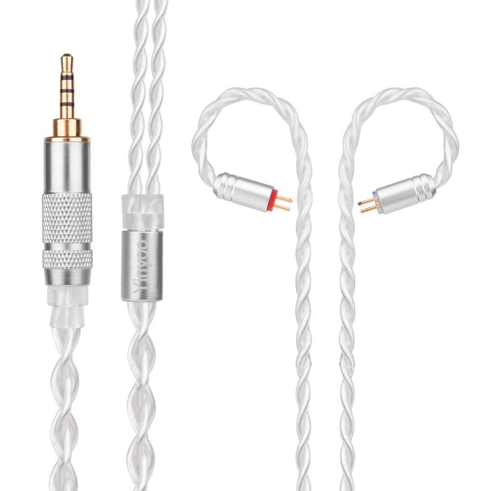 Yinyoo 7N Pure Silver Cable 2.5/3.5/4.4mm Balanced Cable with MMCX/2pin for Sony KZ ZS10 AS10 ZST C16 C10 BLON BL-03 BL-05 BL05