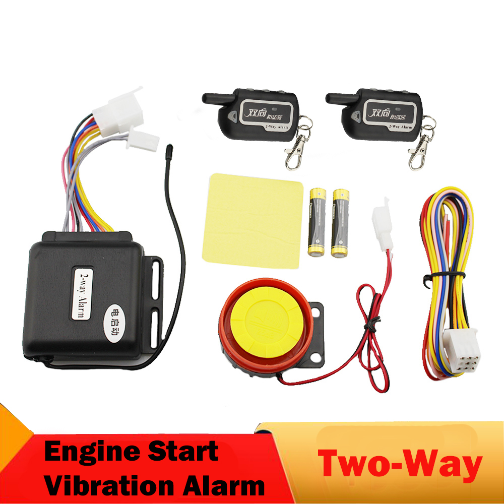 Two 2 Way Motorcycle Alarm System Remote Engine Start Long Range Monitoring Vibration Anti-Theft Alarm Security Protection