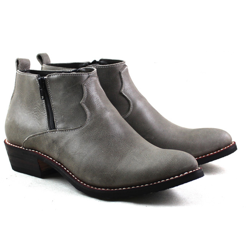 Pointu Western Cowboy Bottes Hommes Bottes de Travail En Cuir de Vachette Véritable Mâle Équitation Moto Botas Hombre zapatos de hombre, 38-45