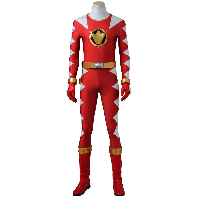 Dino Thunder Cosplay AbareRed Jumpsuit Zyuranger DinoThunder Costume Cosplay Bodysuit Halloween Outfit Adult Men With Boots