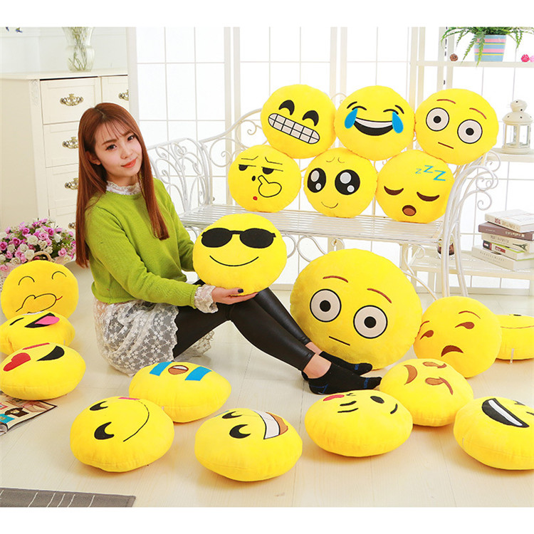 Hot sale Soft Round Smiley Face pillow Plush Emotion Toy Cushion Coussin Cojines Christmas whatsapp emoji pillow
