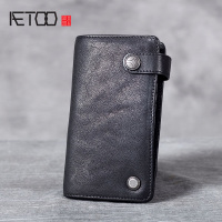 AETOO Leather multi layer card pack, men and women new head cowhide card clip credit card set