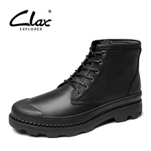 CLAX Mens Leather Boots Spring Autumn Casual Shoes High Top Male Winter Boot Work Fur Warm Snow Shoe Genuine 2019