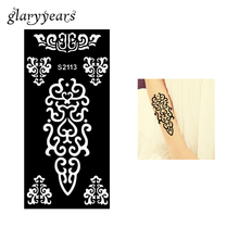 1 Piece Henna Tattoo Stencil Flower Lace Pattern Airbrush Painting For Women Body Art Makeup Henna Tattoo Template Sticker S2113