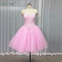 Элегантный розовый коктейль Платья для женщин 2017 Милая пышная мини юбка короткие Выпускные платья с аппликацией из бисера халат де коктейл