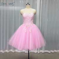 Elegant Pink Coctail Dresses 2017 Sweetheart Puffy Mini Skirt Short Prom Dresses with Applique Beaded Robe de Cocktail SM11