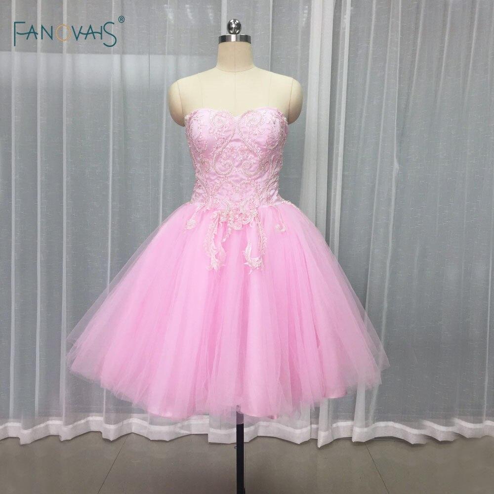 92ab44260628 US $149.99 15% OFF Elegante Rosa Coctail Kleider 2019 Schatz Puffy Mini  Rock Kurze Brautkleider mit Applique Perlen Robe de Cocktail SM11 in  Elegante ...