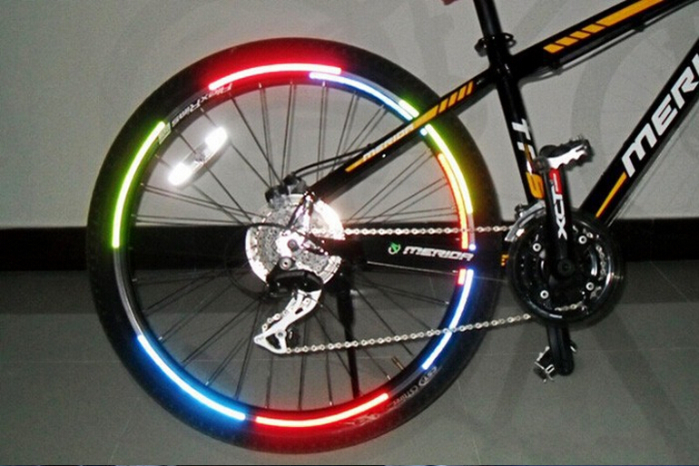 bicycle reflector fluorescent mtb bike bicycle sticker cycling wheel rim reflective stickers. Black Bedroom Furniture Sets. Home Design Ideas