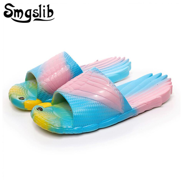 137c3f8b5c95f Kids Slippers Girls Animals Parrot Shoes Personality Strange Creative  Slippers 2018 Children Girls Boy Flip Flops Beach Sandalia