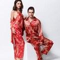 Amantes XIFENNI Emulación Pijamas de Seda Pijama de Satén Rojo de la Manera de Seda ropa de Dormir de Los Hombres Pijama de Cuatro Piezas Mujeres Camisones 3398