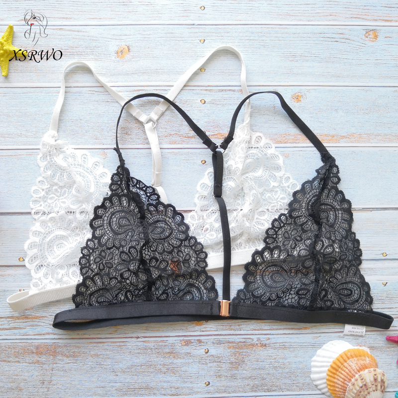 Buy XSRWO New Sexy Lace Bra Transparent Bralette Black White Sexy Lingerie Push Deep-V Top Unlined Brassiere Women's Underwear