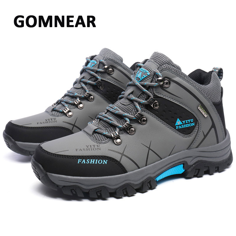 GOMNEAR Big Size Hiking Shoes Men Breathable Antiskid Trend High Top Boots Mountain Climbing Outdoor Trekking Sports Sneakers camo breathable water resistant lace up high top mesh outdoor sports trekking hiking shoes men camping travel climbing sneakers
