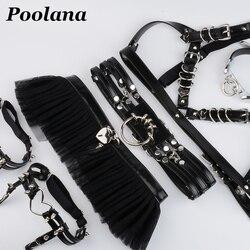 1SET=6pc Cosplay Outfit Lolita Kawaii Choker Collar Harness PU Leather Bra Top Waist Belt Tutu Ruffle Studded Garter Belts