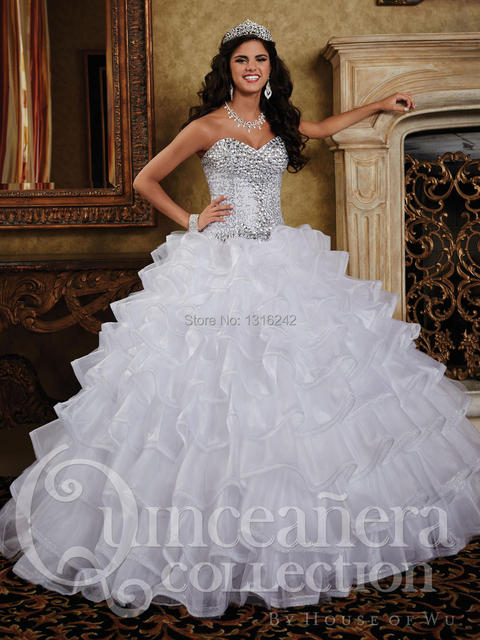ed63f2668a0 Pure White Quinceanera Dresses 2015 girls Sweetheart chest full beads White  ball gown Sweet 16 vestidos de 15