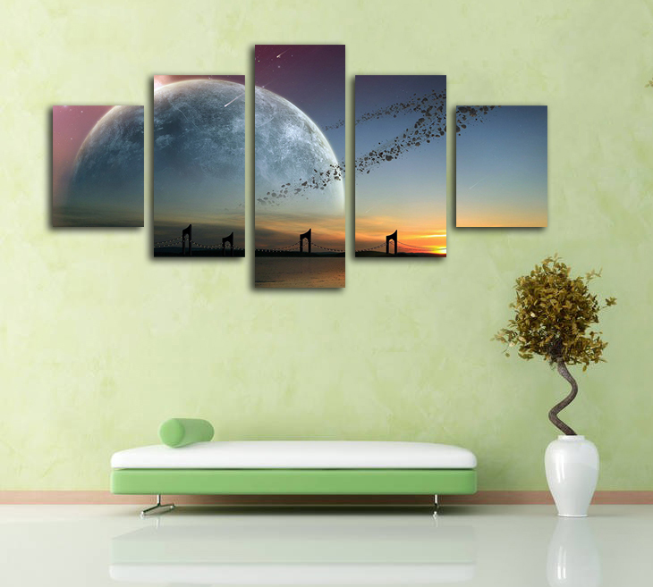 No Frame 5 Panels Canvas Painting Printed Amazing Asteroid Belt ...
