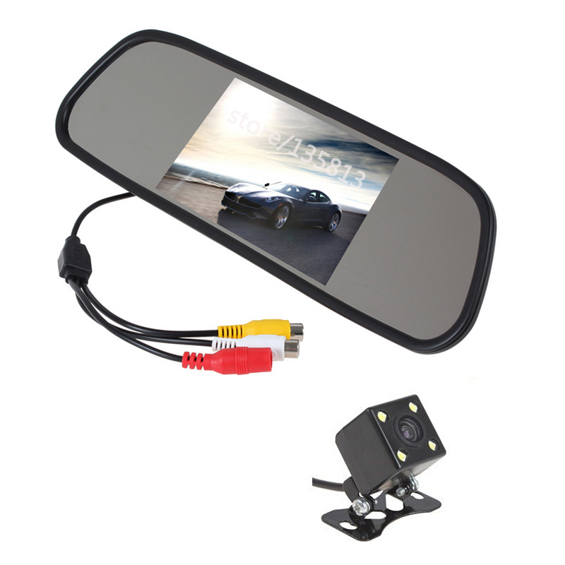 konnwei 5 inch car rearview mirror with led night vision reversing ccd car rear view camera hd. Black Bedroom Furniture Sets. Home Design Ideas