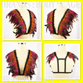 Iridescent velvet tuxedo feather bra Feather Epaulettes Bondage Shoulder Fetish rave bra boho Goth festival  top gypsy lingerie