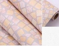 0 45m 1m Light Yellow Self Adhesive Wallpaper PVC Stickers Kitchen Mosaic Tile Bathroom Walls Decal