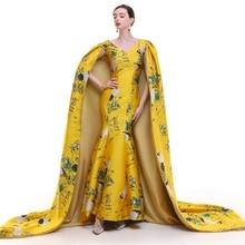 100%real crane priting golden long cloak dress gown stage/studio dress queen cosplay Victoria dress Belle/can customs size