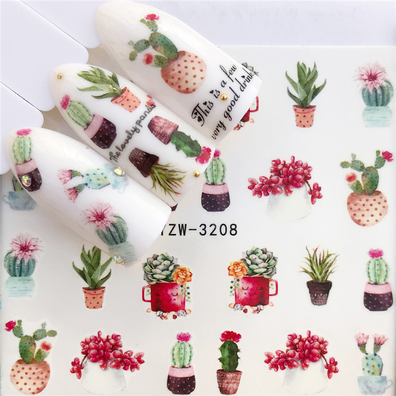 ZKO 1 PC Nail Sticker Water Decals Christmas Flower Deer Butterfly Cactus Transfer Nail Art Decoration