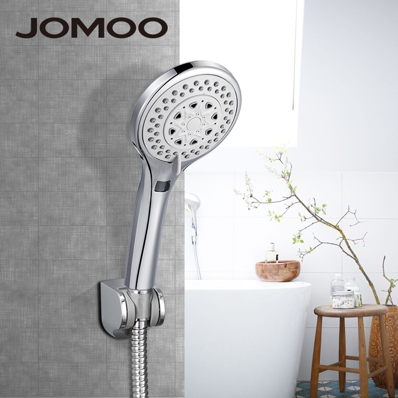 JOMOO Bathroom Shower Set ABS Chrome Wall Mounted Shower Head Water Saving Chuveiro With Wall Bracket 150cm Hose High Pressure jomoo 4 inch 3 jet bathroom shower head chrome hand shower with wall bracket stainless steel hose ducha chuveiro water saving