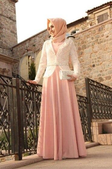 Pink Chiffon Long Sleeve Muslim Evening Dresses 2017 Hijab Islamic Dubai Abaya Kaftan Lace Beads A