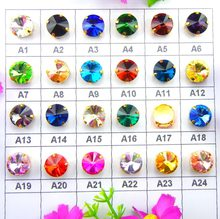 Glass Crystal Gold claw 7 sizes nice colors mix Rivoli round shape Sew on Crystal rhinestone beads garment accessories diy