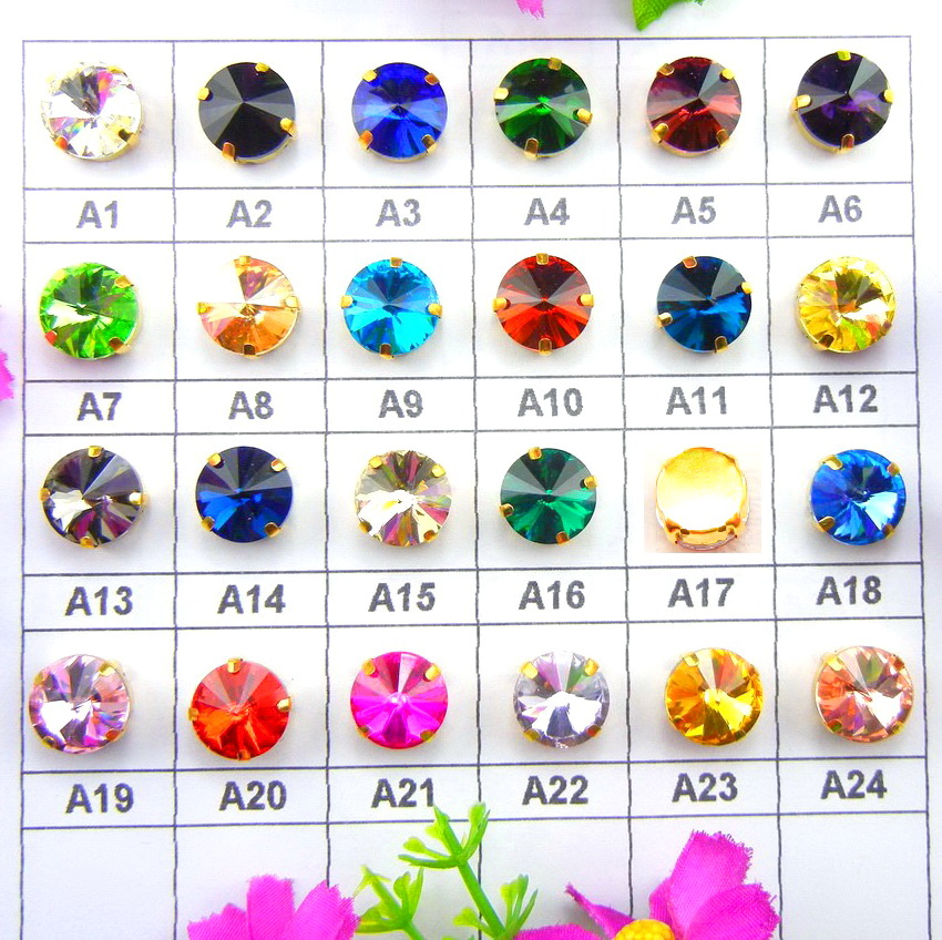 Glass Crystal Gold claw 7 sizes nice colors mix Rivoli round shape Sew on Crystal rhinestone beads garment accessories diy