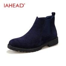 Iahead Мужская обувь Новинка Для мужчин Ботинки Челси мода зимний стиль Мягкая обувь Для мужчин ковбойские ботинки Для мужчин S bota masculina MH568