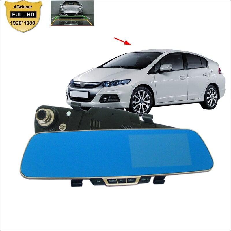цены  BigBigRoad For honda insight Car DVR Blue Screen Rearview Mirror Video Recorder Car Dual Camera lens 5 INCH Car Black Box