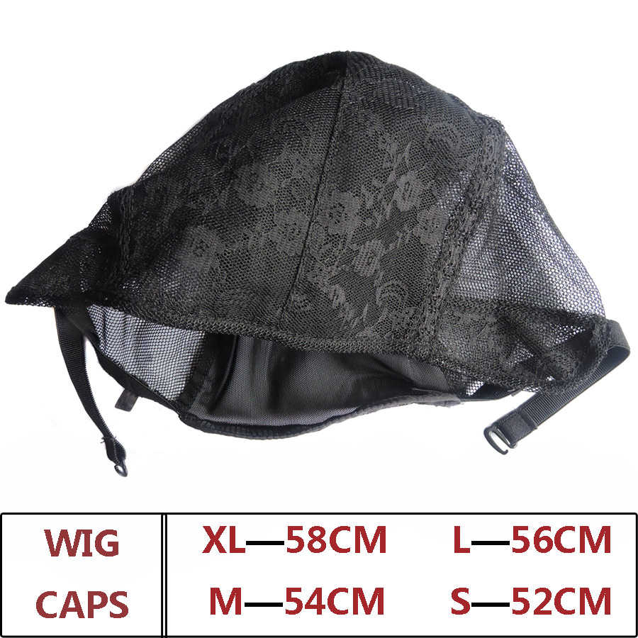 S/M/L/XL ayarlanabilir sapanlar peruk kapaklar çift Net peruk yapımı İçin siyah dokuma doğal insan saçı file şapka dantel peruk kapaklar