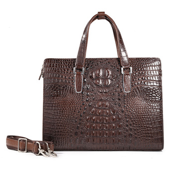 Really Crocodile Man Handbag Leisure Time Business Affairs Genuine Briefcase A Leather messenger Bag designer luxury brand men fasiqi local tyrants gold a bag of crocodile leather handbag with a handbag with a long zipper bag with gold gold