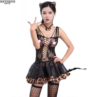 new leopard Puff skirt mesh fishnet sexy babydoll women sexy lingerie hot lace sexy underwear erotic lingerie sexy costumes 155