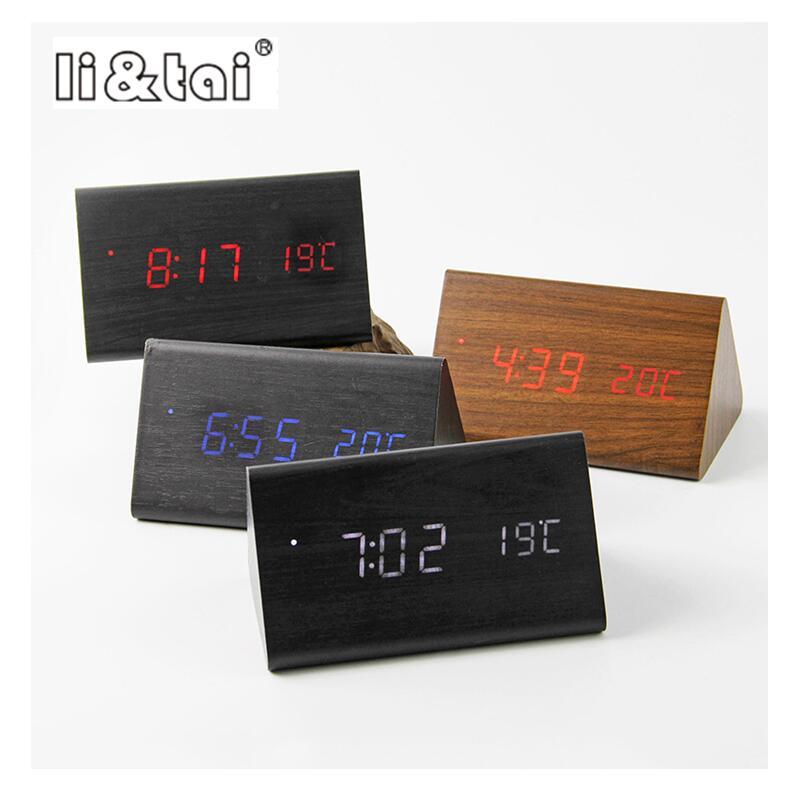 Original Li&tai Triangle Wooden Alarm Clock,Sound sensor Control Time/Date/Temperature digital Bamboo Clock for Home/Office Gift ss94a1f sensor mr li