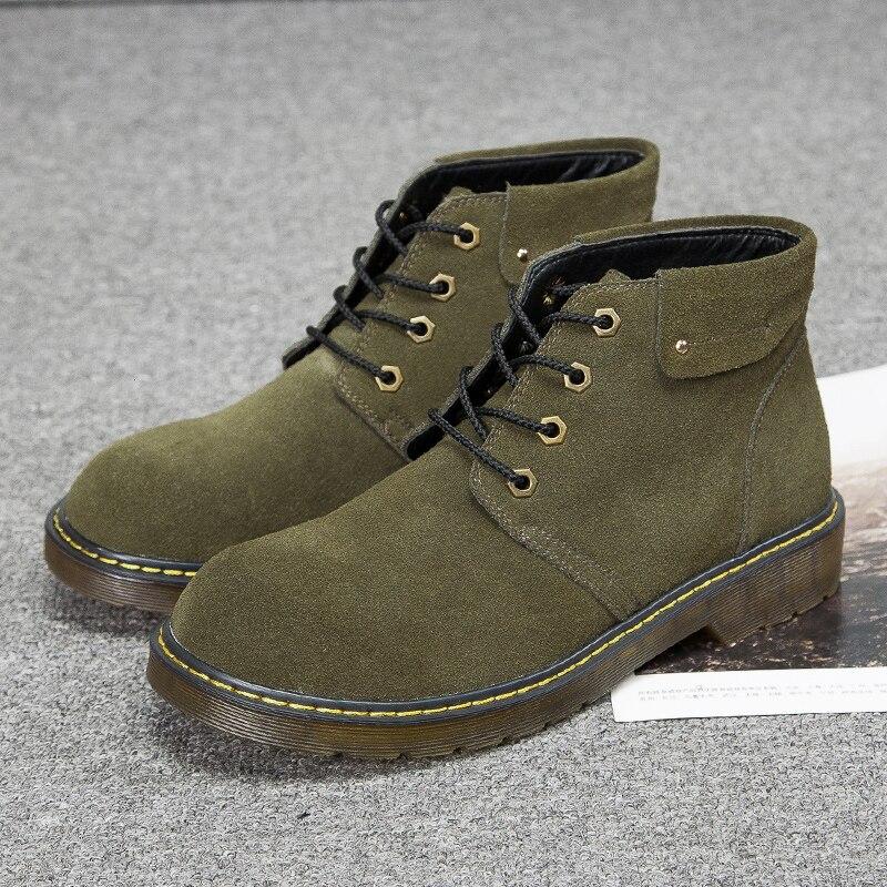 Nouvelle Hiver Casual Boot En Cuir Grande Noir Taille marron 47 Hommes Martin Antidérapant Bottes De vert Chaudes Avec Travail Chaussures Luxe Fourrure txhrsQCd
