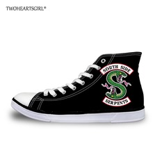 Twoheartsgirl Men High Top Canvas Shoes Black Riverdale Southside Serpents Print Vulcanized Shoes Casual Trendy Fashion Sneakers