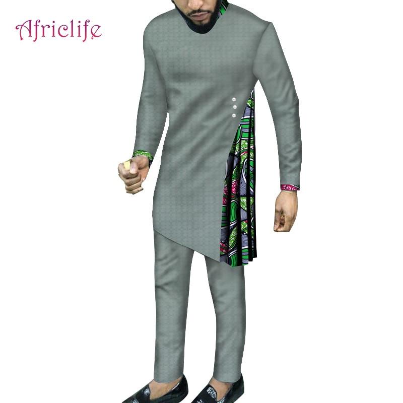 Hommes vêtements ensemble 2019 haute qualité robe nouveau design beau mariage fête vêtements africain bazin pour hommes vêtements WYN748