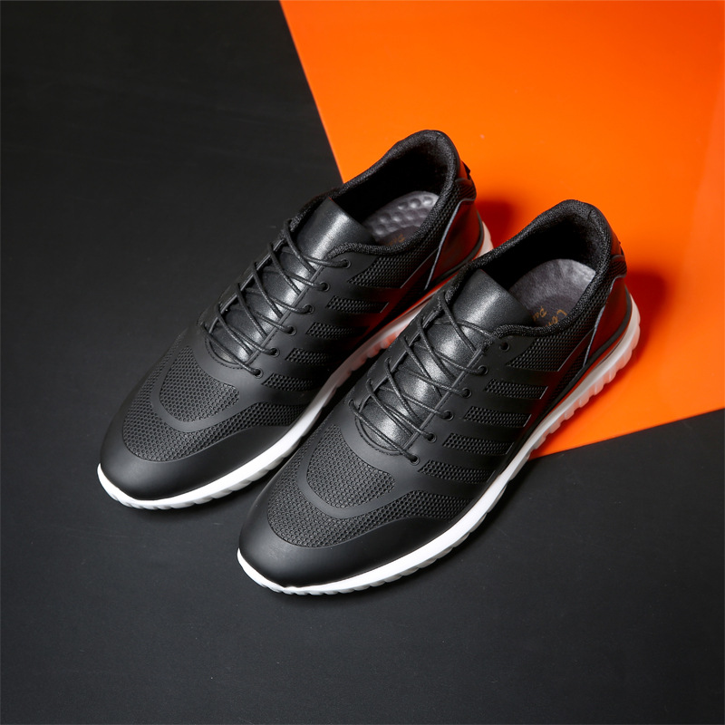 White Shoes Flat Real Leather Man Breathable Shoes Walking Nets Leather Shoes Man Ventilation Travel Sports Shoes