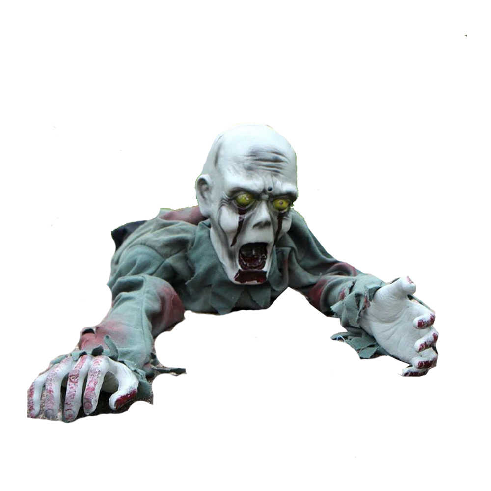 Animated Crawling Zombie 12in x 43in Red Eyes Scary Sound