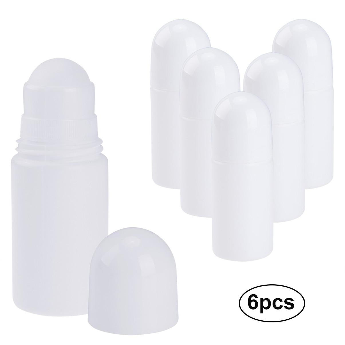 PrettySee 6 stücke Leere Rolle-auf Flasche 50 ml Recycelbar Antitranspirant Roller Flaschen Nachfüllbar Deodorant Container mit RollerBall