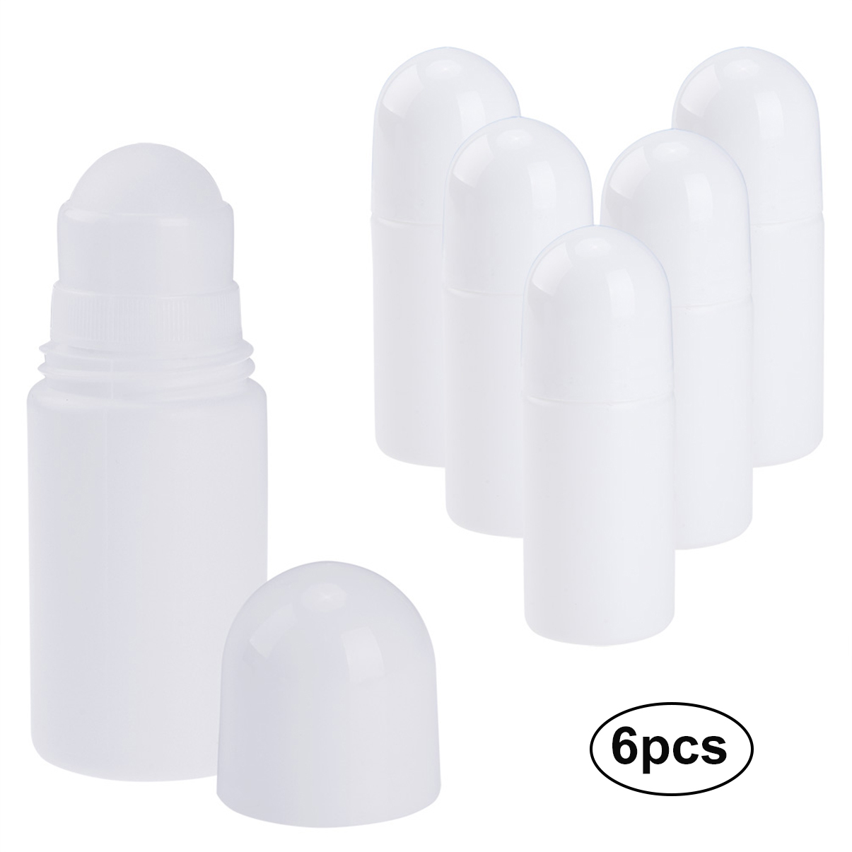 PrettySee 6PCS Empty Roll on Bottle 50ML Recyclable Antiperspirant Roller Bottles Refillable Deodorant Container with RollerBall