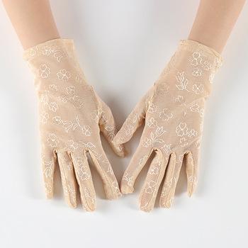 Damskie letnie odporne na promieniowanie UV rękawiczki jazdy rękawiczki koronkowe rękawiczki brand new i koronka wysokiej jakości o rękawiczki damskie rękawiczki tanie i dobre opinie lace Dla dorosłych Kobiety Moda Nadgarstek Floral geinne