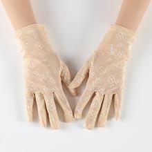 Damskie letnie odporne na promieniowanie UV rękawiczki jazdy rękawiczki koronkowe rękawiczki brand new i koronka wysokiej jakości o rękawiczki damskie rękawiczki tanie tanio lace Dla dorosłych Kobiety Moda Nadgarstek Floral geinne